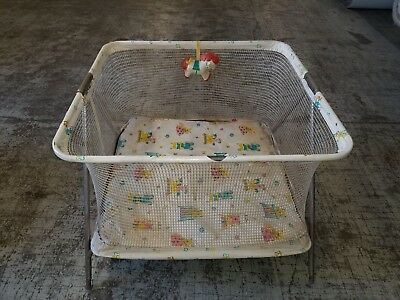 Vintage Bunny Bear Baby Playpen Folding