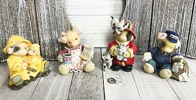 Vintage 1995 Enesco This Little Piggy Figurines Lot Of (4) Collectibles