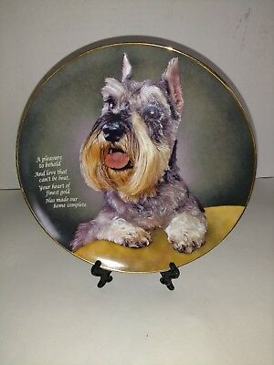 Danbury Mint MINIATURE SCHNAUZER LIMITED EDITION Collector Plates VGC