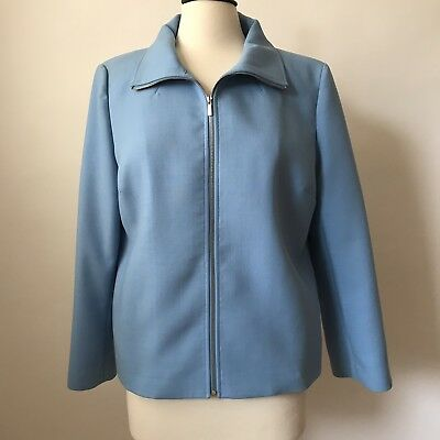 St. John Collection By Marie Gray Blue Zip Front Jacket - Gaberdine Wool Size 10