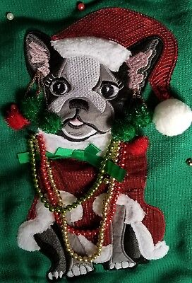Boston Terrier Christmas Sweater.French Bulldog Frenchie Ugly Christmas Sweater Womens L Large Boston Terrier