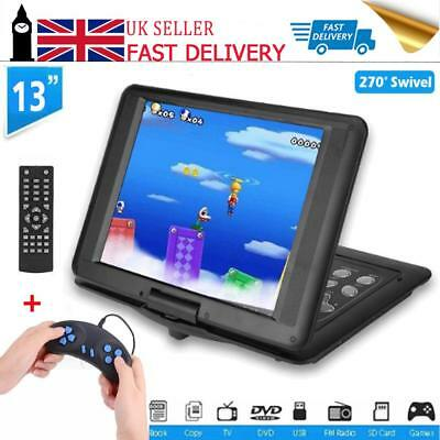 """18.8"""" Portable DVD Player 13"""" 270°Large Swivel Screen In Car Charger SD +Game CD"""