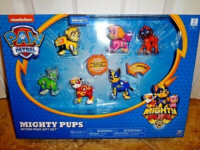 Paw Patrol Mighty Pups Gift Set 6 Figures Rocky Chase Marshall Rubble Light Up