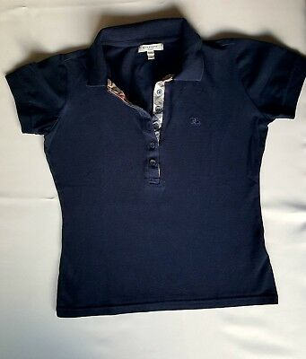 BURBERRY LONDON 100% authentique polo T. S t-shirt femme bleu marine tartan 3400d1d876a6