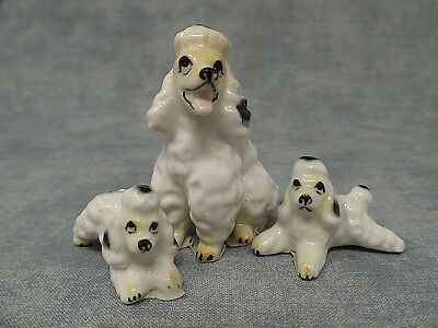 Vintage Ceramic Mother Poodle with Puppies Figurine