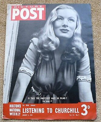 Ww2 Picture Post Magazine Dated August 1941 Actress Veronica Lake On Cover