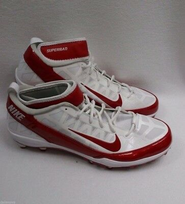 e8bda1085bbe New Men s Nike AIR ZOOM SUPERBAD 3 D Football Cleats Red White Size US 17