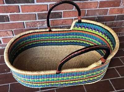 Baby Basket Hand Made . Beautiful Multi Colored . With Carrying Handles. New