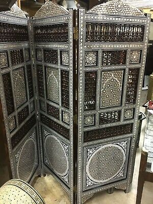 Wooden 3 Panel Room Divider Inlaid Mother of Pearl with Hand Work Arabisque