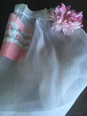 Vintage Sheer White Apron With Pink Floral Printed Cotton Pocket
