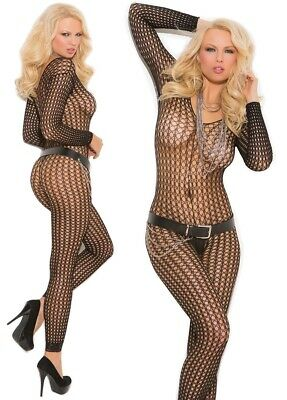 df0313db09 Long Sleeve Black Seamless Crochet Footless Bodystocking