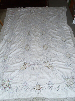"Antique Point De Venise Linen tablecloth cream linen blue embroidery 62"" x 95"""