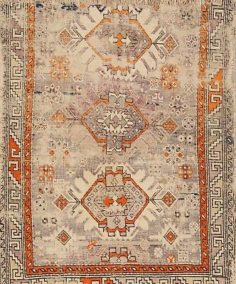 Antique Pre 1900 Old HandMade Wool Moraccan Traditional Oriental Area Rug 4x4
