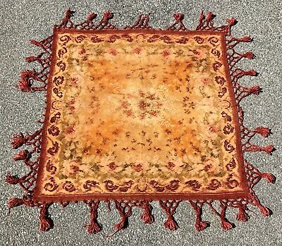 Antique 19th C Victorian Fabric Chenille Square Table Cover Textile Tassels