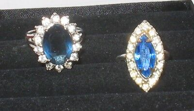 Gorgeous Vintage Cocktail Ring LOT (6a) Rhinestone Sapphire Size 7 / 9