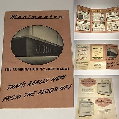 Vintage 1940s 1950 Mealmaster Combination Oven Stove Range Manual Advertisement
