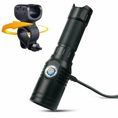 UF1602 1000LM XML-T6 LED Flashlight Torch USB Rechargeable 18650 battery+mount