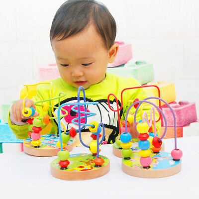 Children Kids Baby Colorful Wooden Mini Around Beads Educational Game Toy G
