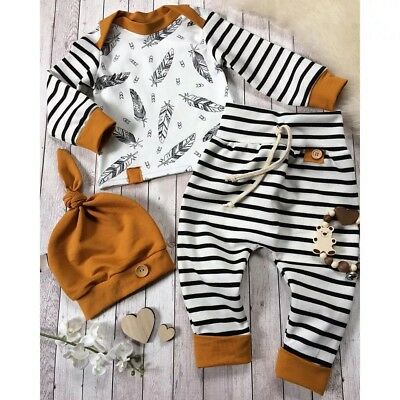 Striped Pant Feather Top Beenie 3 Piece Toddler Set