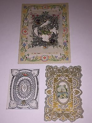Lot Of 3 Unused Victorian Era Greeting Cards Late 1800s Paper Ephemera