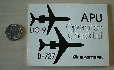 Eastern Airlines 1978 APU Operation Check List DC-9 Boeing 727 Guide Book