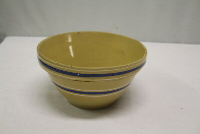 Blue Banded Yellow Ware Striped Farmhouse Mixing Bowl
