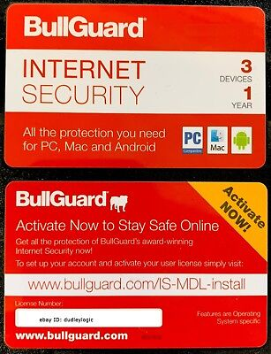 Bullguard Internet Security 2018 - 1 year - upto 3 Devices , PC , Mac , Android