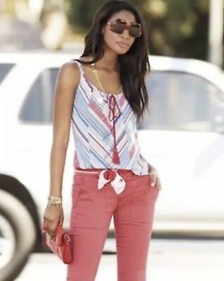 CAbi #5230 Tassel Tank Top NWT Small Blue Red Striped Sleeveless Cami Blouse $76