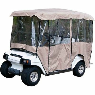 "Universal Tan 4 Passenger Vinyl Enclosure Cover For Golf Carts w/80"" top"