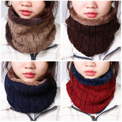 Warm  Collar  Unisex  Solid Color Thick Neck Ring Knitted Scarf  Women Scarf