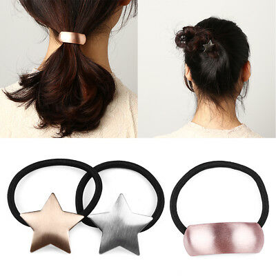 Shape Triangle  Star   Elastic Ponytail Holder Alloy Hair Band Metal Girl Rope
