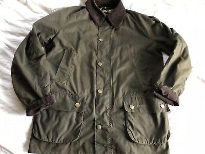 Barbour Ashby Jacket Waxed Olive Green Large Tartan Lined