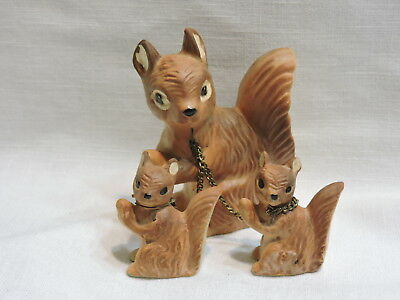Vintage Ceramic Squirrels Figurines - Mother and 2 Babies Chained Brinnco Japan