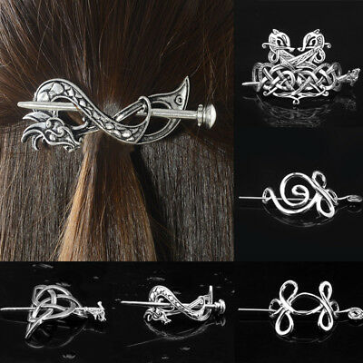 Vintage Retro Metal Viking Celtic Hairpin Hair Stick Knots Hair Pins Crown Women
