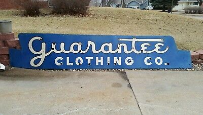 "Vintage ""Guarantee Clothing Company"" Huge Antique Sign - Great Look!"