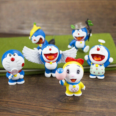 Doraemon Robot Wings Angel Anime 6 PCS Cat-Like Action Figure Cute Doll Gift Toy