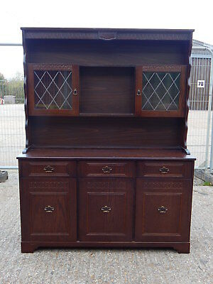 Superb New Plan Furniture oak welsh dresser wall cabinet unit with glass doors