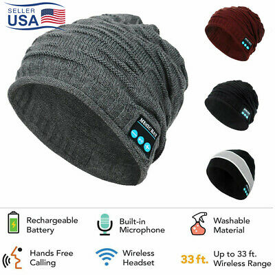 Unisex Wireless Bluetooth Headset Beanie Hat Music With Headphones Earphone Cap