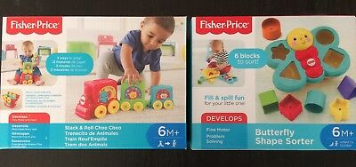 fisher price Baby Toys Butterfly Shape Sorter + Stack And Roll Choo Choo 6M+