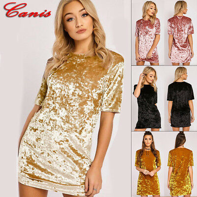 Womens Cocktail Party Bodycon Lady Crushed Velvet Long Sleeve Midi Romper Dress