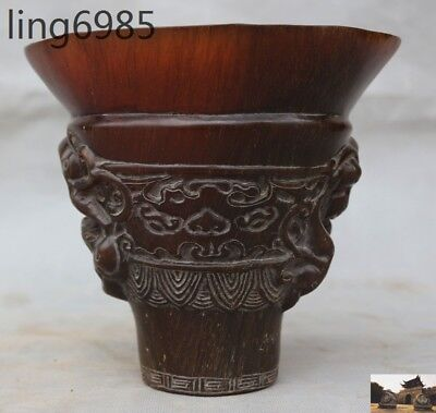 Marked Old Chinese Ox horn carved beast dragon ancient Wine vessel Cup wineglass