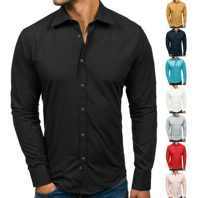 Mens Long Sleeve Slim Fit Dress Shirt Business Work Luxury Formal Casual T-shirt