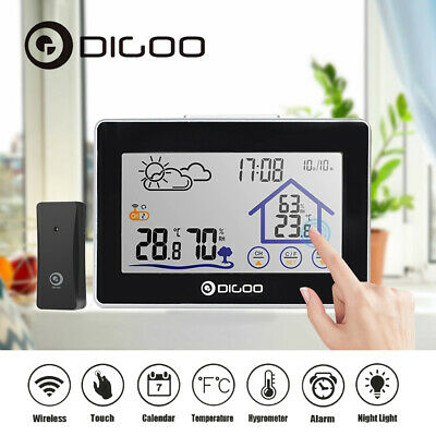 DIGOO Wireless Weather Station LCD Touch Screen Digital Clock Thermometer Sensor