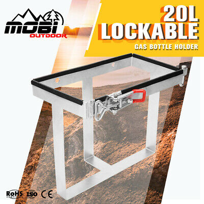 20L Trailer Jerry Can Holder Lockable Bolt On Galvanized For Camper 4WD Caravan