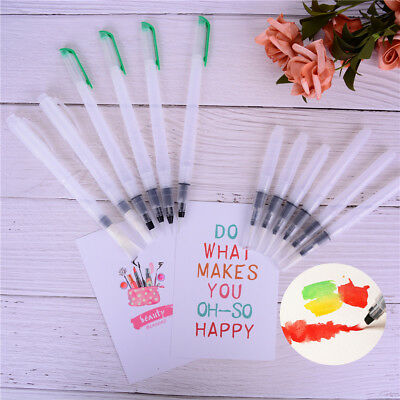 6Pcs Refillable Water Color Soft Painting Brush Marker Watercolour Drawing  EO