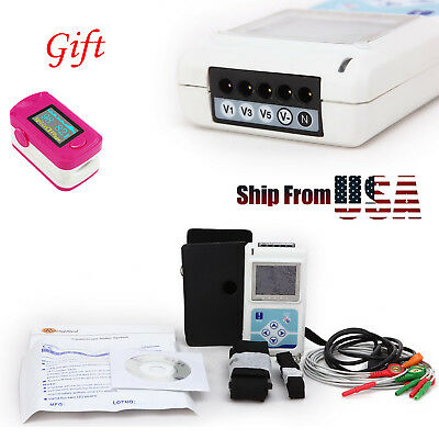 LCD 3-Channel 12-Lead ECG EKG Holter Monitor Recorder 24 Hours Software +SPO2 CE