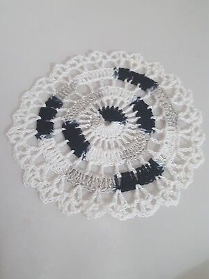 Shady Black in White Bumblebee doily Approximately 5 Inches.