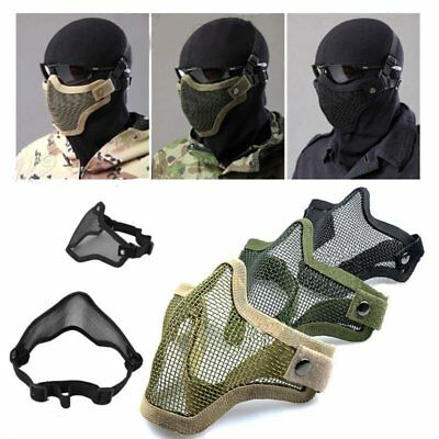 Metal Steel Mesh Protective Mask Half Face Tactical Military Airsoft Mask Gear
