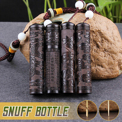 1Pcs Snuff Bottle Spoon Bullet Ebony Fragrance Toothpick Case Container Portable