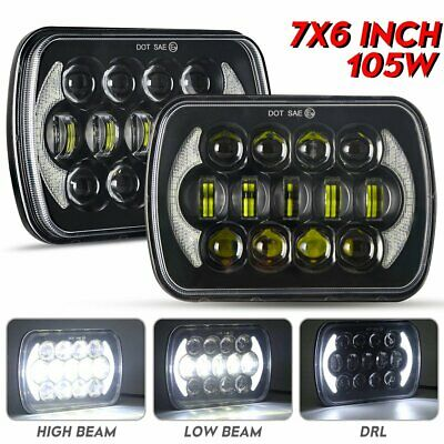 2X 7x6 5x7 inch Upgrade Head Light LED Headlight High Low Beam Halo H4 For Jeep